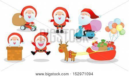 Merry christmas, set of Santa Clauses, Collection of Christmas Santa Claus on white background, Vector Illustration