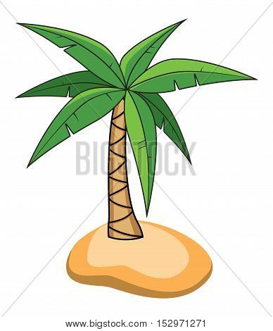 vector cartoon of palm tree on a small island for travel backgrounds