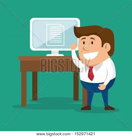 businessman work idea laptop vector illustration eps 10