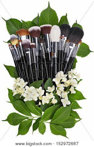 Jasmine. Makeup brushes set. Isolated. White background.