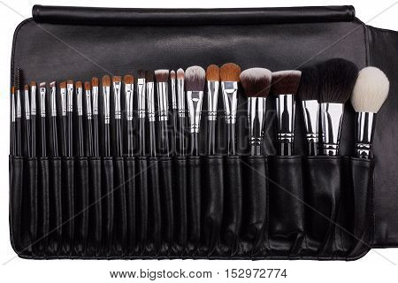 Makeup brushes set in leather case. Isolated. White background.