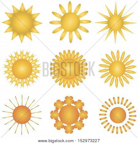 Suns collection. Set of sun vector. Elements for design