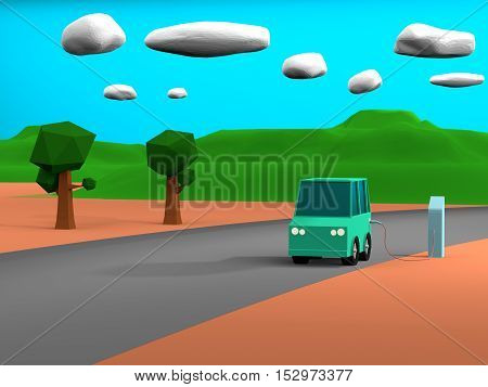 3d rendering of Electric vehicle at charge station in white background. Green low poly car charged by blue charger. Electric vehicle no need fuel energy.
