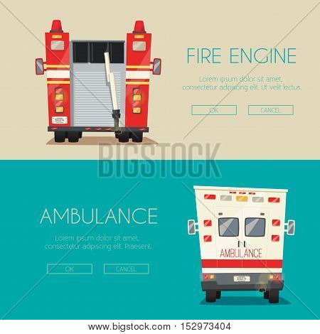 Ambulance car and Fire truck. Vector cartoon illustration. Emergency medical service. Hospital and clinic. Healthcare theme. First aid. Save health and life. American transport. Service