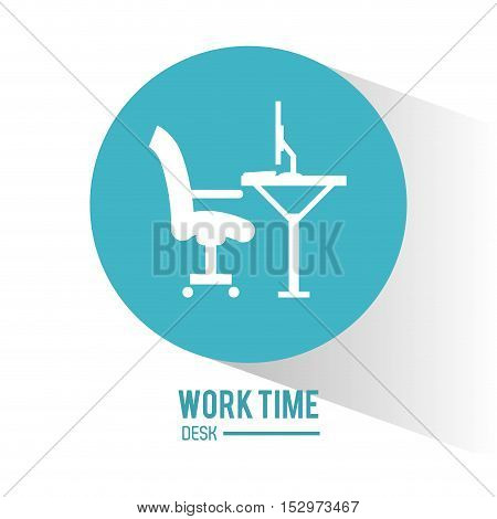 Desk computer and chair icon. Work time office and supplies theme. Colorful design. Vector illustration