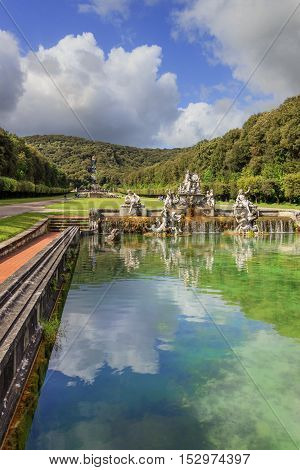 Caserta, Italy, May 1, 2016: Caserta Palace Royal Garden. In the foreground The Fountain of Ceres.It is a former royal residence in Caserta constructed for the Bourbon kings of Naples.