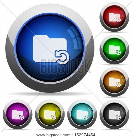 Undo folder operation icons in round glossy buttons with steel frames