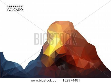 Volcano In Low Polygon Style. Abstract Background For Design.vector Illustration