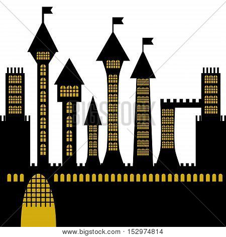 isolated vector ancient gothic castle black silhouette