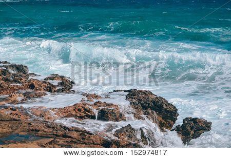 blue sea of white foam on the island of Cyprus