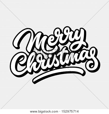 Merry Christmas, xmas badge with handwritten lettering, calligraphy with outline, block blended shade and light background for logo, banners, labels, prints, posters. Vector illustration