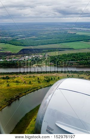 aerial view of Lugovoe village landscape near Tyumen town in Russia