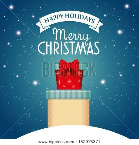 card happy holidays and merry christmas with two gift snow stars and blue background vector illustration eps 10