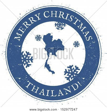 Thailand Map. Vintage Merry Christmas Thailand Stamp. Stylised Rubber Stamp With County Map And Merr