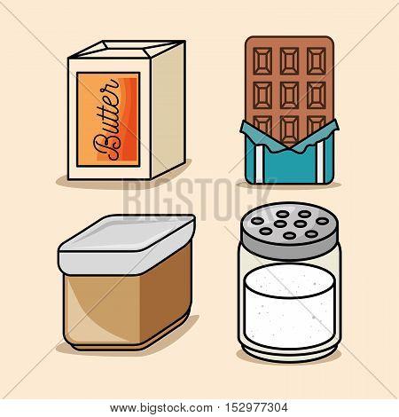 set butter bar chocolate salt icons vector illustration eps 10