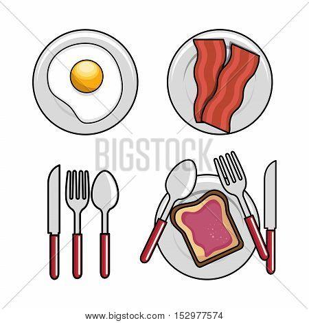 different breakfast dishes egg spoon fork knife bread bacon design vector illustration eps 10