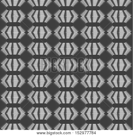 Rhombic silver periodic diamonds shades of grey optical illusion seamless vector background