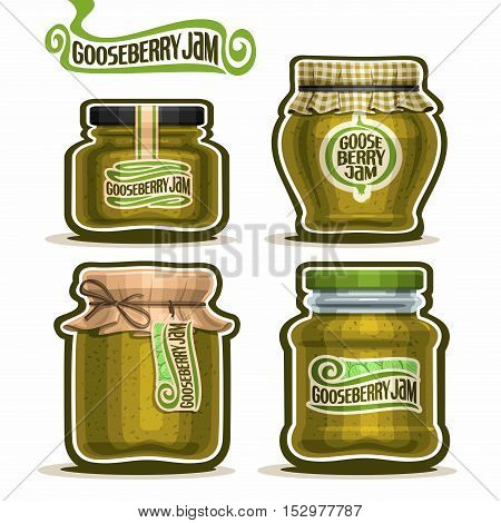 Vector logo Gooseberry Jam in glass Jars with paper lid, green Pot home made gooseberry jams, twine rope bow, homemade fruit jam jar, berry jelly pot with label, checkered cloth cap isolated on white.
