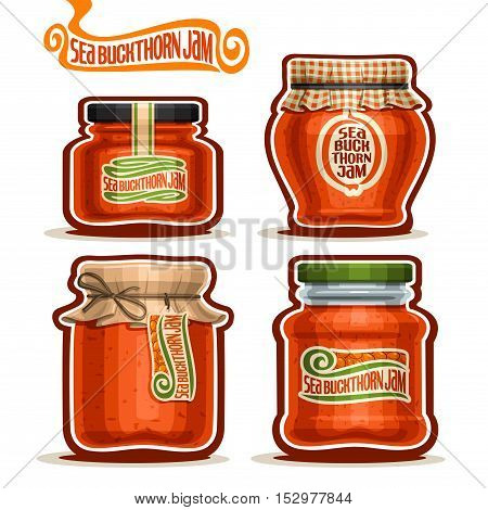 Vector logo Seabuckthorn Jam in Jars with paper lid, Pot home made seabuckthorn jams, homemade Sea Buckthorn fruit jam jar, sea buckthorn berry jelly pot with label, checkered cap, isolated on white.