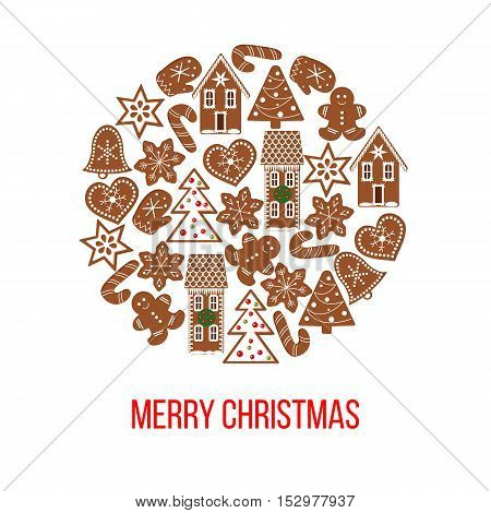 Gingerbread christmas cookies on bauble shape postcard background. Vector. Funny gingerbread figures. Xmas tree, snowflakes, cane, heart, star, bell, detailed house, mittens For postcards wrapping
