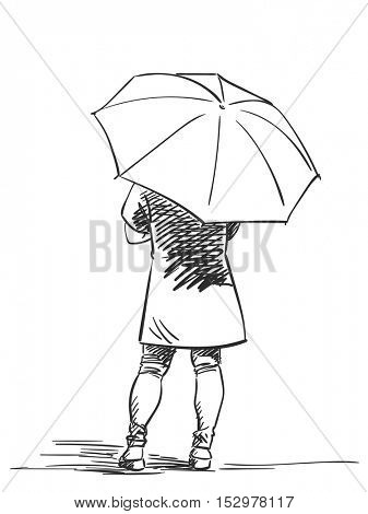 Sketch of woman with umbrella back view Vector illustration