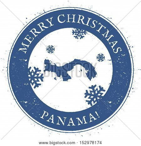 Panama Map. Vintage Merry Christmas Panama Stamp. Stylised Rubber Stamp With County Map And Merry Ch