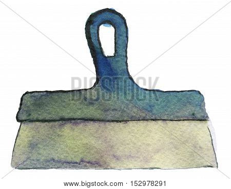 watercolor sketch of spatula on white background