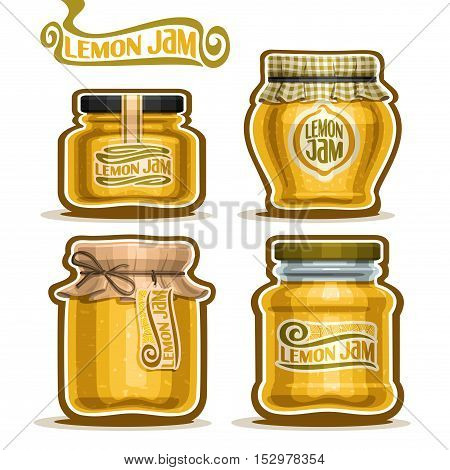 Vector logo Lemon Jam in glass Jars with paper lid, yellow rustic Pot home made lemon jams, twine rope bow, homemade fruit jam jar, citron jelly pot with label, checkered cloth cap, isolated on white.
