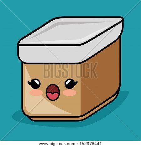 kawaii container kitchen icon graphic vector illustration eps 10