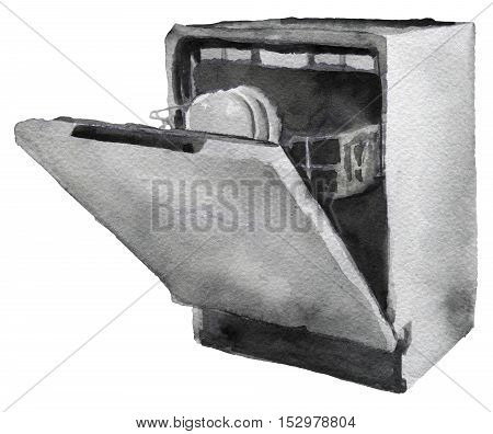 watercolor sketch of dishwasher machine on a white background