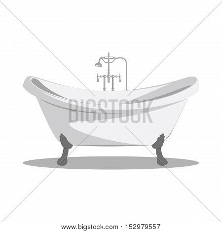 Cartoon retro bathtub icon white with arms and legs and shadow at the bottom. Vector illustration.