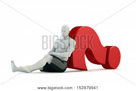 3D white people looks for an idea lying on a red question mark isolated white background 3d image