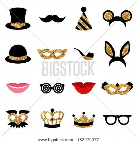 Set of Carnival Icons and Objects. Black Color with Golden Pattern. Vector Illustration.