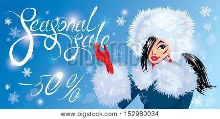 Christmas Discount horizontal banner with Smiling Happy brunette girl. Calligraphic hand written text Seasonal sale. Winter background with snowflakes.