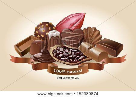 Vector illustration of chocolate sweets on a light background