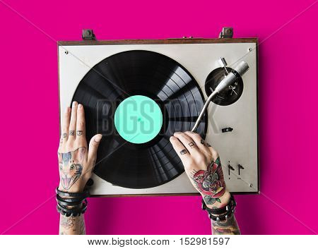 Vinyl Audio Music Rhythm Playing Tattoo Art Concept