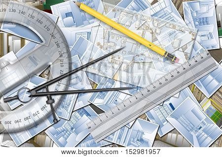 Illustration about an architecture project for home design plan. With paper projects and design tools, ruler, pencil, protractor and compass