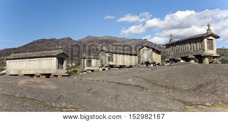 View of the communitarian granaries called espigueiros in the village of Soajo Peneda National Park Northern Portugal