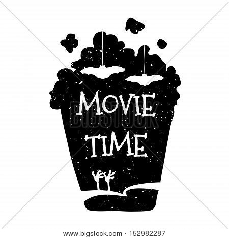 Vector illustration with silhouette popcorn bucket. Movie time. Horror film. Halloween card.