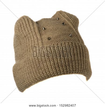 Women's Knitted Hat Isolated On White Background.