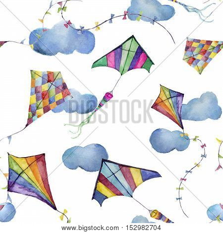 Watercolor seamless pattern with kites and clouds. Hand drawn vintage kite with retro design. Illustrations isolated on white background for kids design, wallpaper or background.
