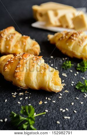 Savory Croissants Stuffed With Emmental Cheese