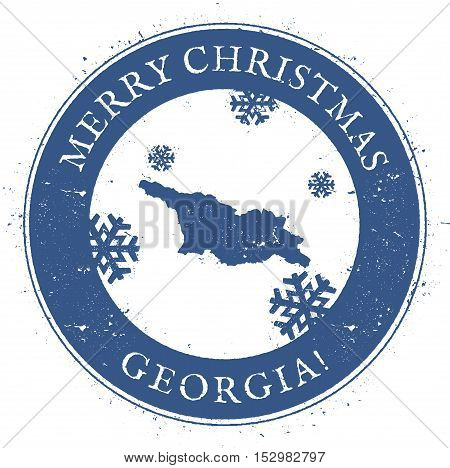 Georgia Map. Vintage Merry Christmas Georgia Stamp. Stylised Rubber Stamp With County Map And Merry