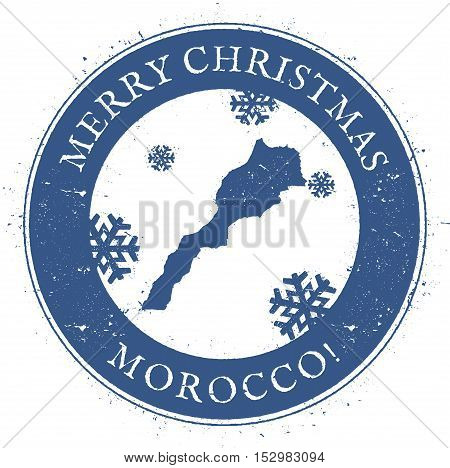 Morocco Map. Vintage Merry Christmas Morocco Stamp. Stylised Rubber Stamp With County Map And Merry