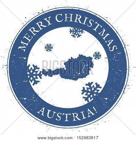 Austria Map. Vintage Merry Christmas Austria Stamp. Stylised Rubber Stamp With County Map And Merry