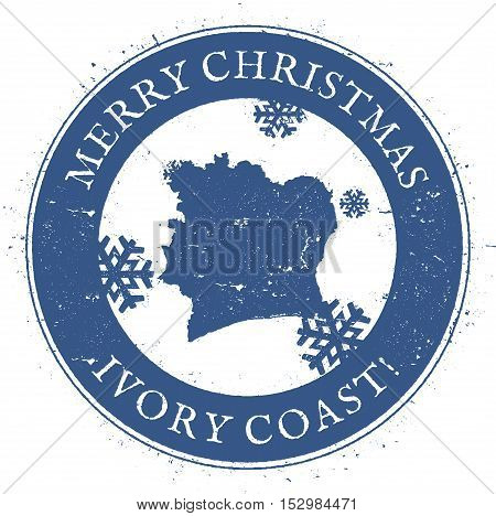 Cote D'ivoire Map. Vintage Merry Christmas Cote D'ivoire Stamp. Stylised Rubber Stamp With County Ma