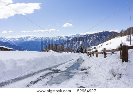 Road Covered With Snow During The Winter, Landscape