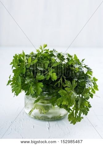 Bunch of fresh green parsley in a glass jar