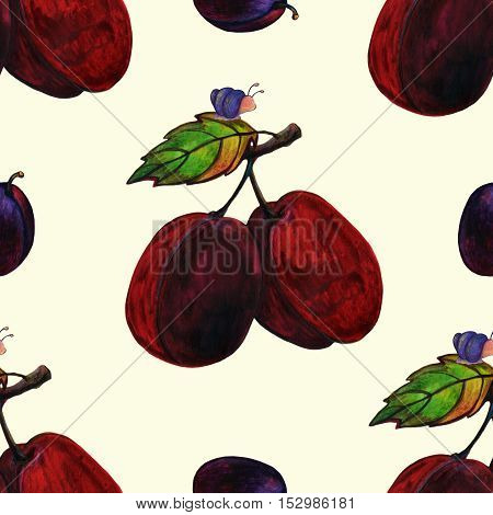 Watercolor Seamless Pattern with Plums and Snail