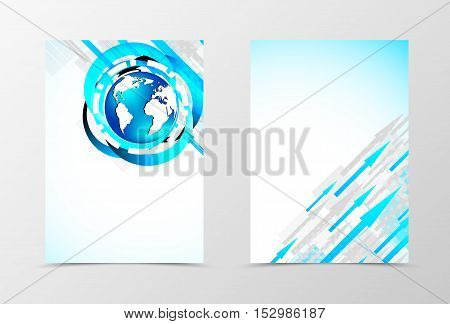 Front and back digital flyer template design. Abstract template with blue and gray arrows and globe in dynamic style. Vector illustration